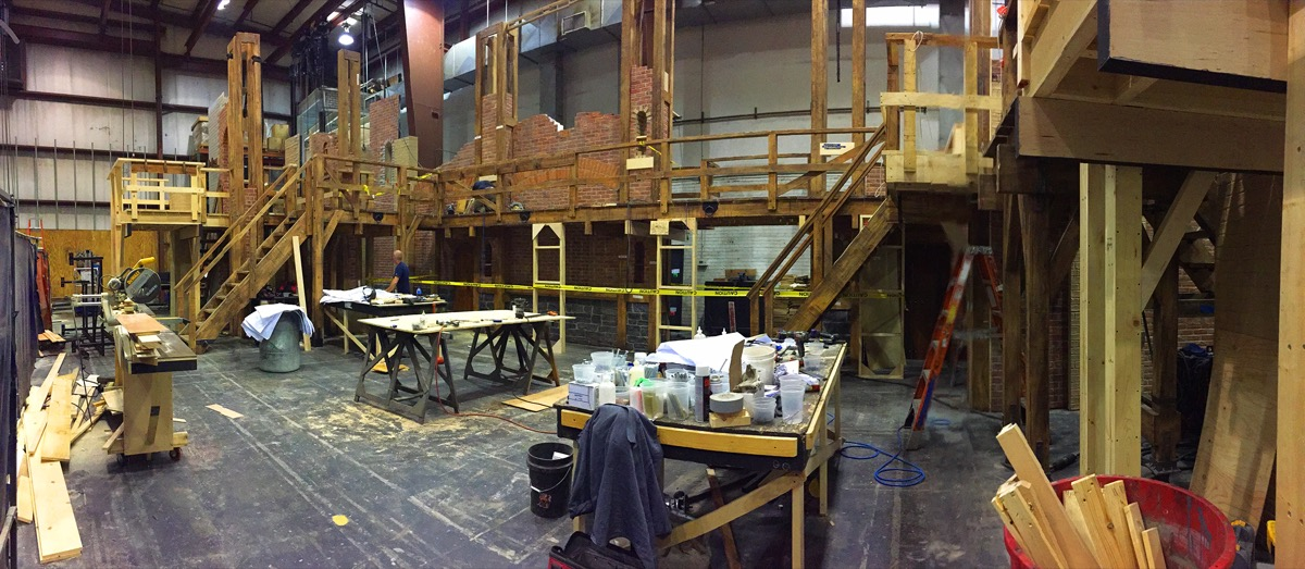The Hamilton set being built at Hudson Scenic Studios