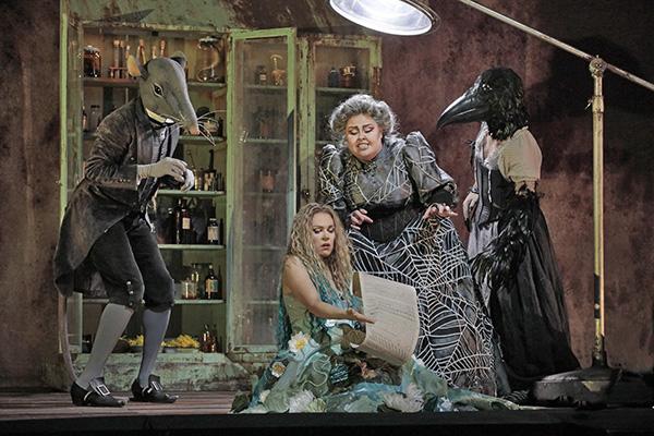 Mezzo-soprano Jamie Barton (standing) with soprano Kristine Opolais in Rusalka at The Metropolitan Opera.  Costume design by Mara Blumenfeld.
