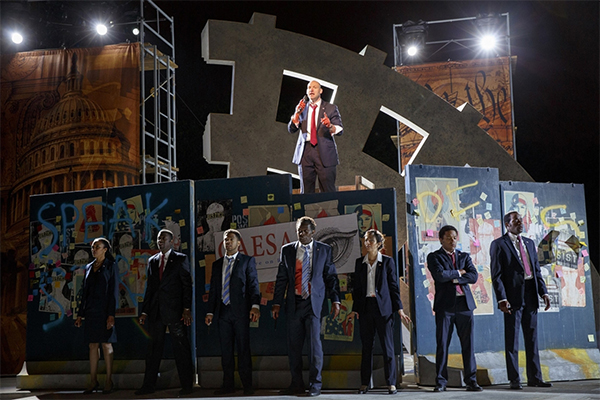 Graffiti in production of Julius Caesar at Shakespeare in the Park