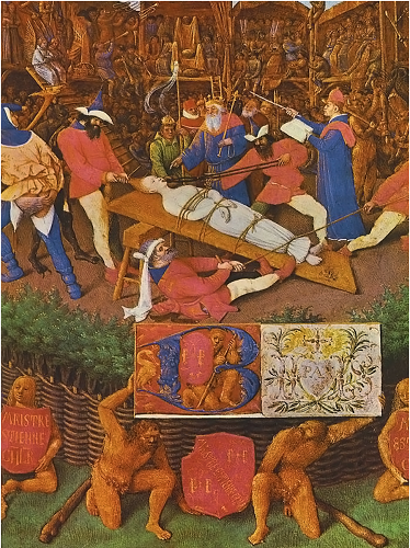 """The Martydom of St. Apollonia by Jean Fouquet. A Late 1400's Painting that featured, on the right hand-side of the painting, a monk (prompter) feeding lines and actions to the """"actors"""" onstage."""