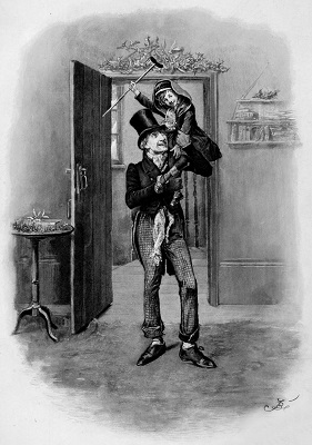 Bob Crachit and his son, Tiny Tim from Charles Dicken's A Christmas Carol