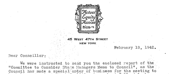 "The February 18, 1942 cover letter from Actors Equity regarding the ""Committee to Consider Stage Managers' Memo to Council"""