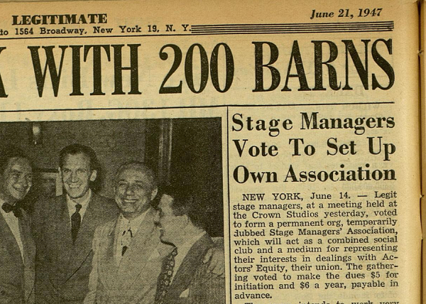 A June 21, 1947 Newspaper Article on stage managers setting up their own Association