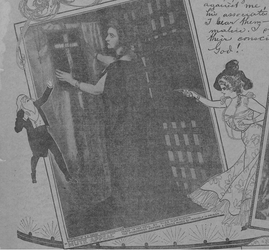 "Julia Morrison posed in her cell with a cross that she made. ""The Strangely Dramatic Trial of Julia Morrison, Actress"" New York Journal, December 1899"