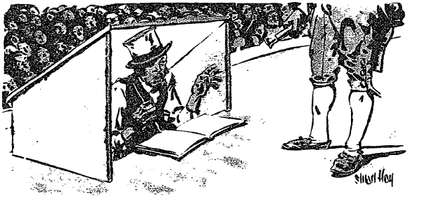 """Reading From a Manuscript Before him, He Continuously Whispers the Lines.  James O. Spearing. """"The Prompter's Art Lost to America."""" New York Times, June 19, 1927. ProQuest Historical Newspapers"""