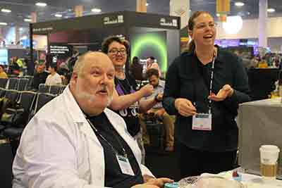 Jay Duckworth works with participants at the USITT Prop Lab