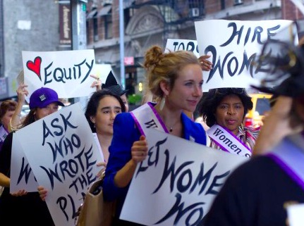 A shot from the Women Count March, a march to advocate for equal representation for women in theatre
