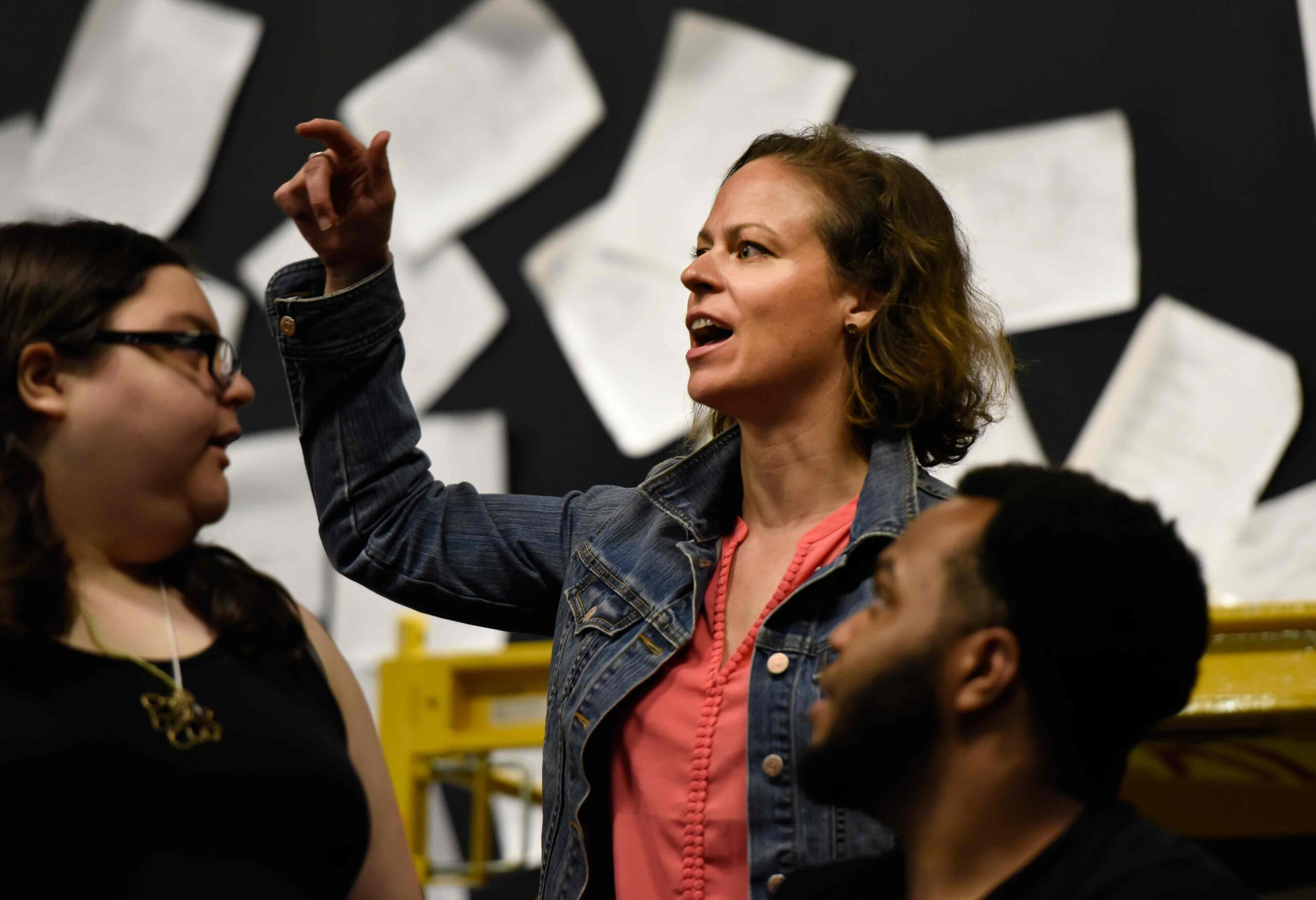 Director Stefanie Sertich works with the cast. (Photo:©Howard Sherman)