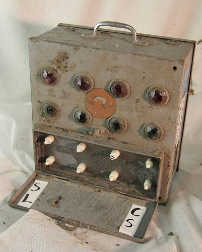 A portable cue light control box, built by Strand Electric