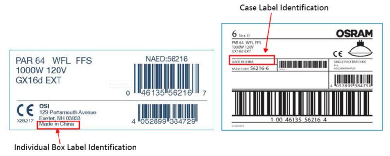 OSRAM Case Labels PAR Lamp Recall