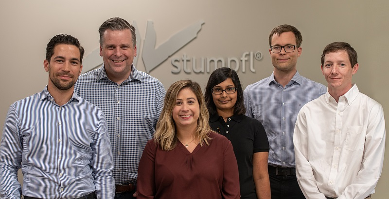 From left to right: Fabian Stumpfl (CEO AV Stumpfl GmbH), Todd Liedahl (managing director U.S. subsidiary), Jenna George (account manager, screens), Jennifer Elliott (account manager, screens), Tobias Stumpfl (CEO AV Stumpfl GmbH), Matthew Briggs (logistics manager)