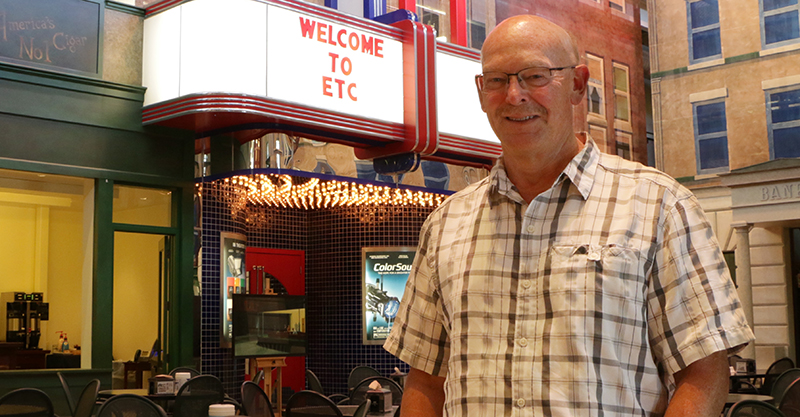 Newly named CEO, Dick Titus in the Town Square at ETC headquarters in Middleton, WI