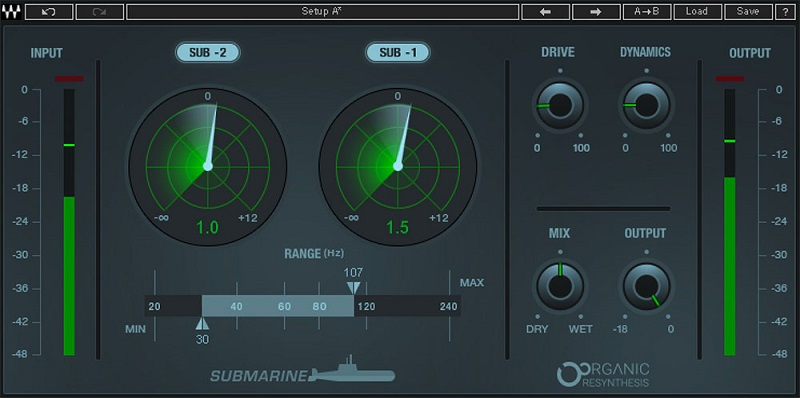 Interface for Waves Submarine plugin, a two-octave subharmonic generator plugin