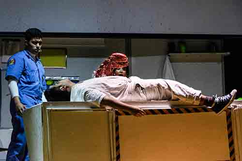 The chestburster scene from Alien the Play (photo: Howard Sherman)