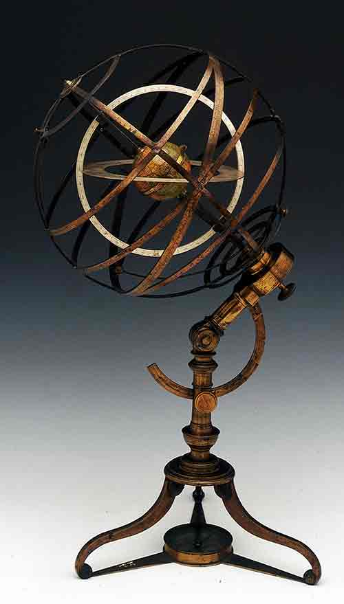 Armillary sphere circa 1775 made by Charles Lincoln in London (photo:National Maritime Museum, Greenwich, London, Caird Collection)