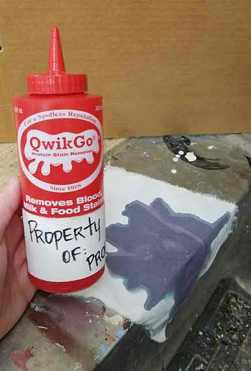 The Ink Remover is A. L. Wilson's QwikGo® - Protein Stain Remover