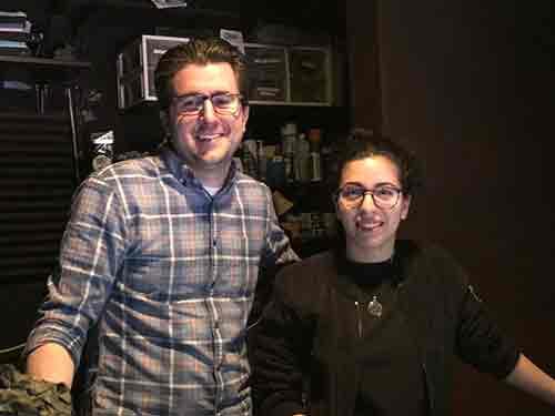 The sound team at The Marriott, designer Robert Gilmartin and engineer Sarah Ortiz.