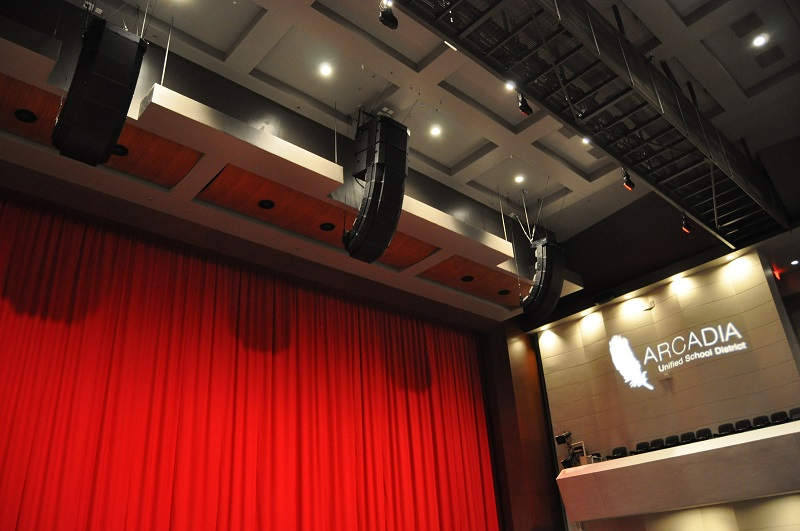 The Performing Arts Center at Arcadia High School in Arcadia, California, featuring a RoomMatch loudspeaker system from Bose Professional.