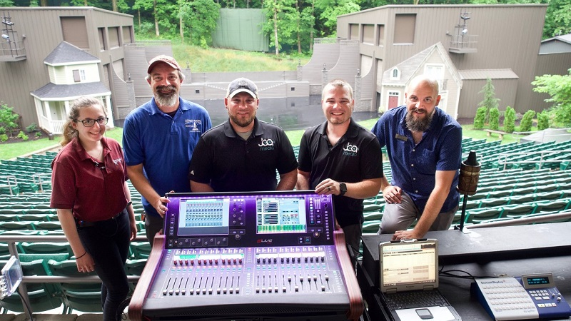 From left-to-right: Stephen Foster Story A1 Costa Daros; audio engineer Paul Denayer; JCA Media's Robert Bender and Alex Peake; and show director Johnny Warren with the show's Allen & Heath dLive C3500 control surface.