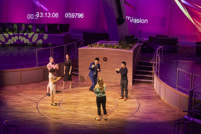 The TwoSeventy entertainment space on the Spectrum of the Seas cruise ship features Elation lighting