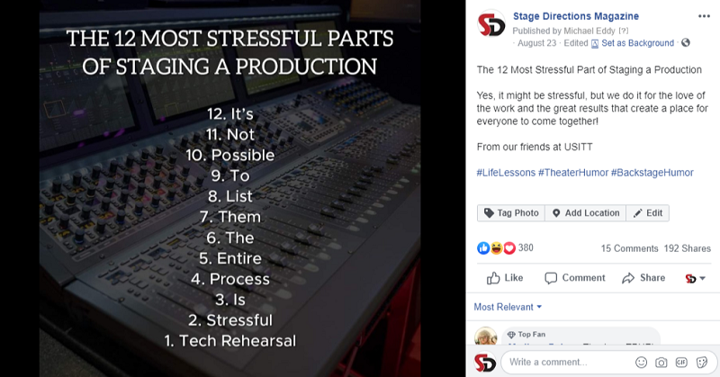 Social Buzz on the Facebook Page of Stage Directions Magazine