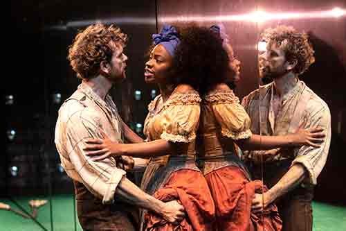 Paul Alexander Nolan and Teyonah Parris in the New York Theatre Workshop production of Slave Play.