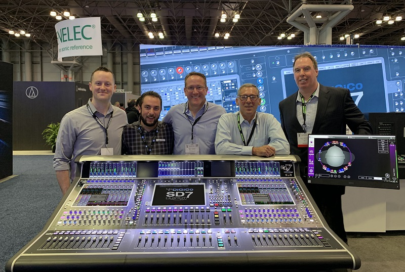 Left to right: Ryan Shelton (Group One), Tony Bevacqua (PES), Matt Larson (Group One), Michael LaVopa (PES) and John Zambrano (PES) behind DiGiCo's SD7 Quantum console and external KLANG display at the recent AES Convention in New York City