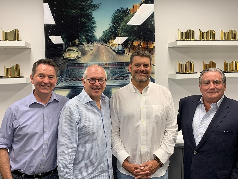 The SSL and Group One Ltd management team (left to right): SSL Managing Director Nigel Beaumont, SSL USA SVP Phil Wagner, Group One Ltd President Bryan Bradley, and Group One Ltd CEO Jack Kelly