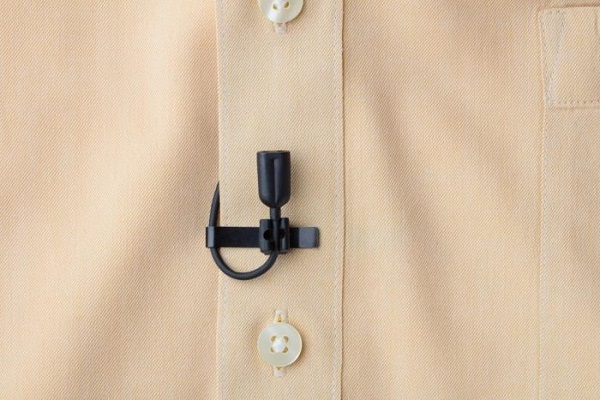 The PSA CO2 8WL mic, which was just patented, mounted as a lavalier on shirt
