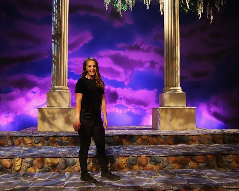 Tech student, Hope McMahone using the new Pliant CrewCom on Ella Enchanted at Samford University Theatre