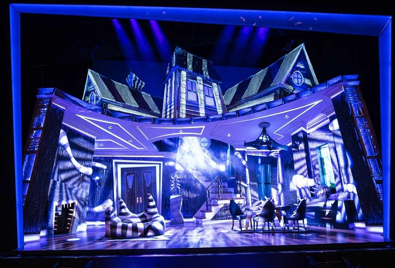 A scene from Beetlejuice with lighting by LD Ken Posner