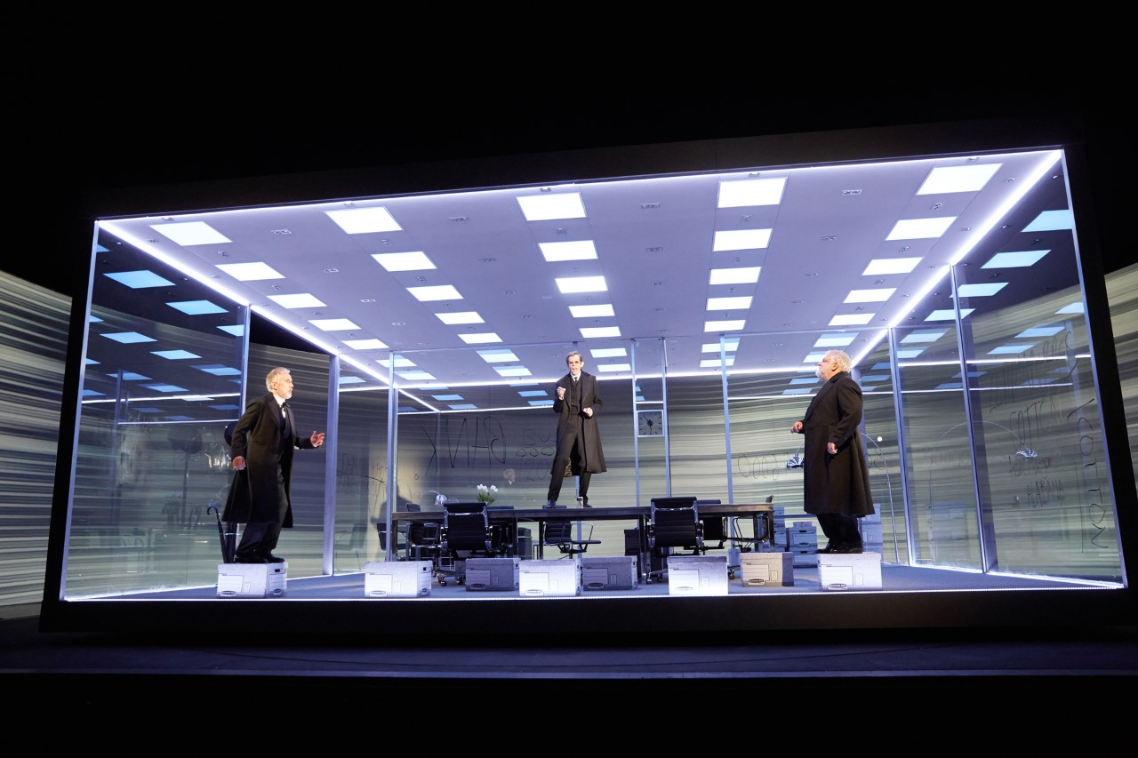 A scene from The Lehman Trilogy at the National Theatre. Photo by Mark Douet