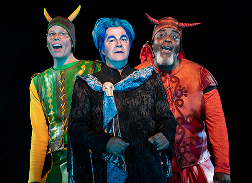Jeff Hiller, Roger Bart, and Nelson Chimilio in Hercules at The Public Theater