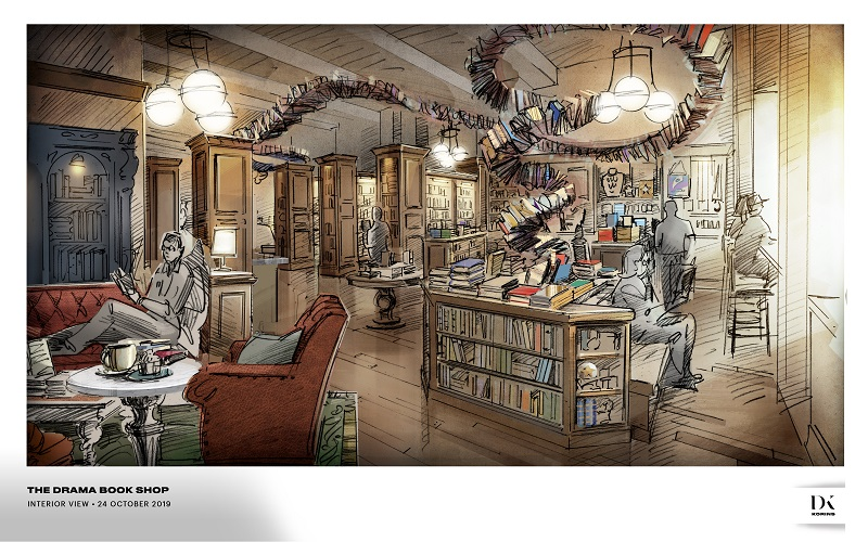 A rendering from Designer, David Korins of the interior of the new Drama Book Shop.