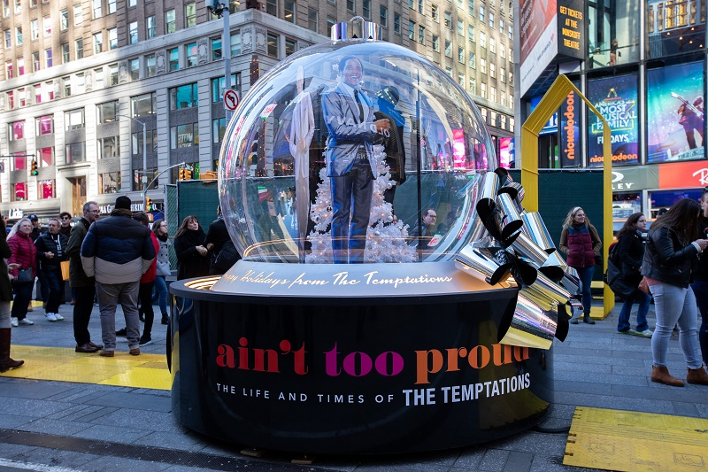 The Show Globe for Aint Too Proud. Photo: Walter Wlodarczyk for the Times Square Alliance