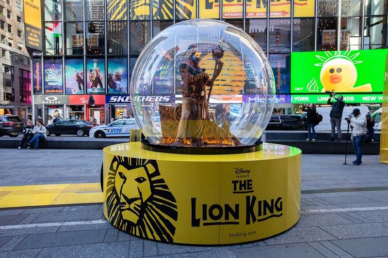 The Show Globe for The Lion King. Photo: Walter Wlodarczyk for the Times Square Alliance