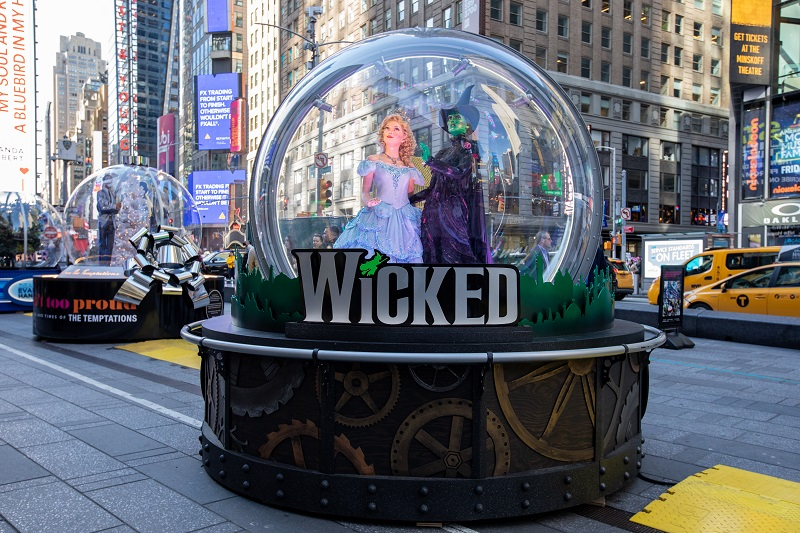 The Show Globe for Wicked. Photo: Walter Wlodarczyk for the Times Square Alliance