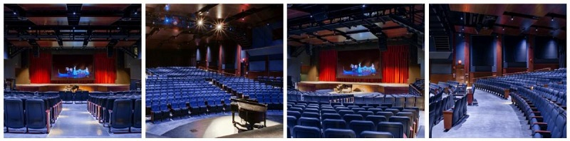 The Goshen High School auditorium that has new drapes, drape track, and controls from iWeiss