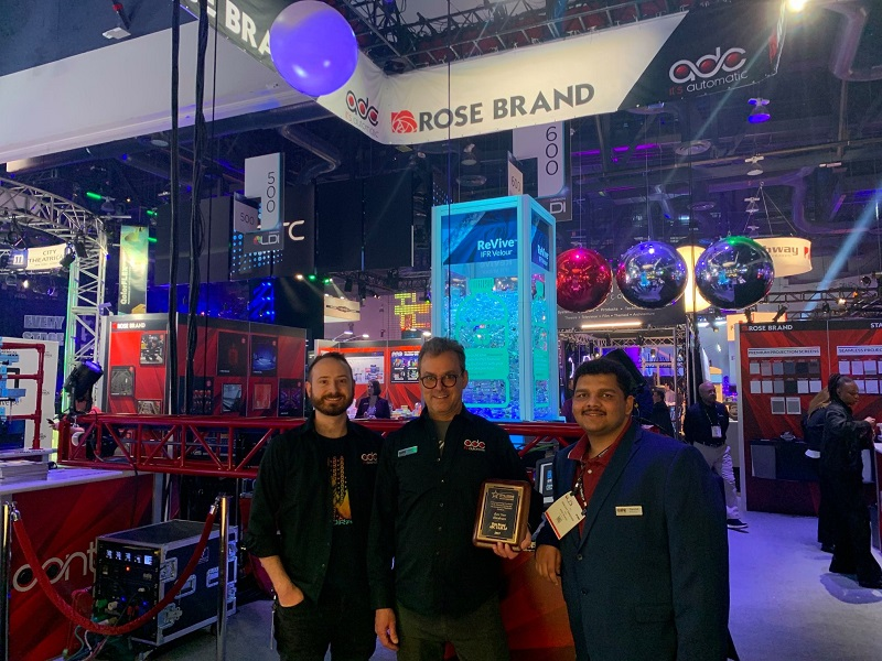 Rose Brand won three Best New Product Awards at LDI 2019 including the PLSN Gold Star Award. Accepting the Gold Star Award, Ryan Mast, Kevin O'Grady, and Sanchit Pradhan