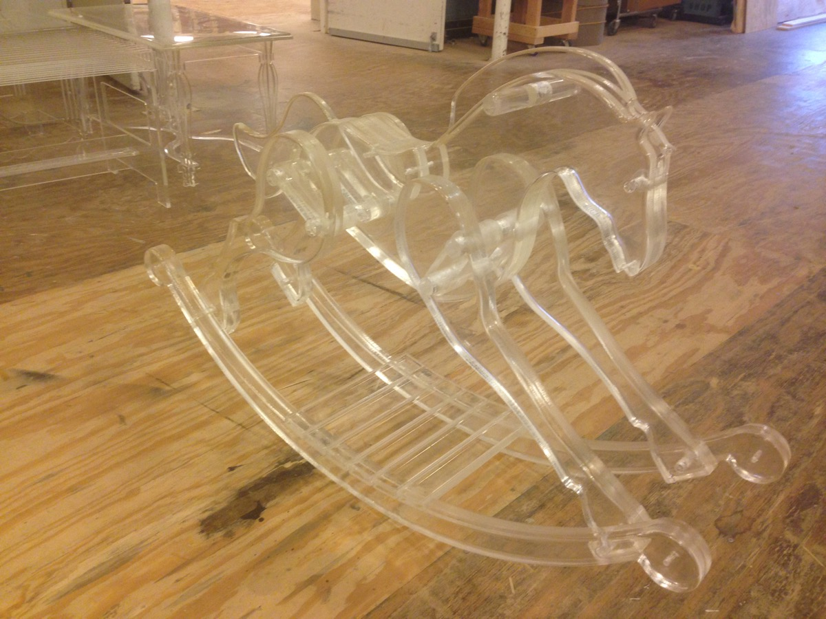 The completed acrylic rocking horse.