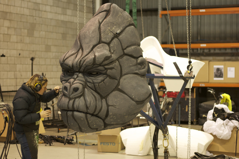 Painting of King Kong's facial detailing during fabrication
