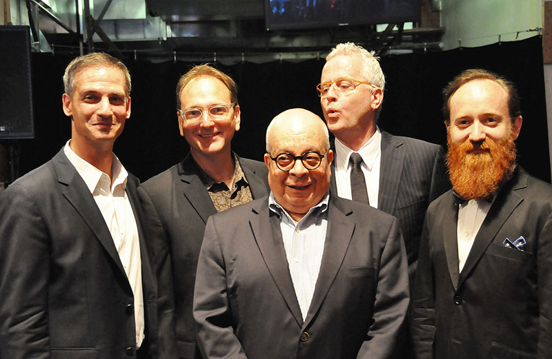 Abe Jacob (front and center) with (left to right) Nevin Steinberg, John Gromada, Jonathan Deans and Leon Rothenberg at the 2013 Broadway Sound Master Classes