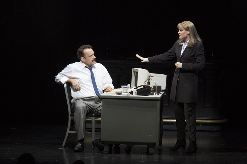 Deirdre Lovejoy with Tom Hanks in Lucky Guy on Broadway.
