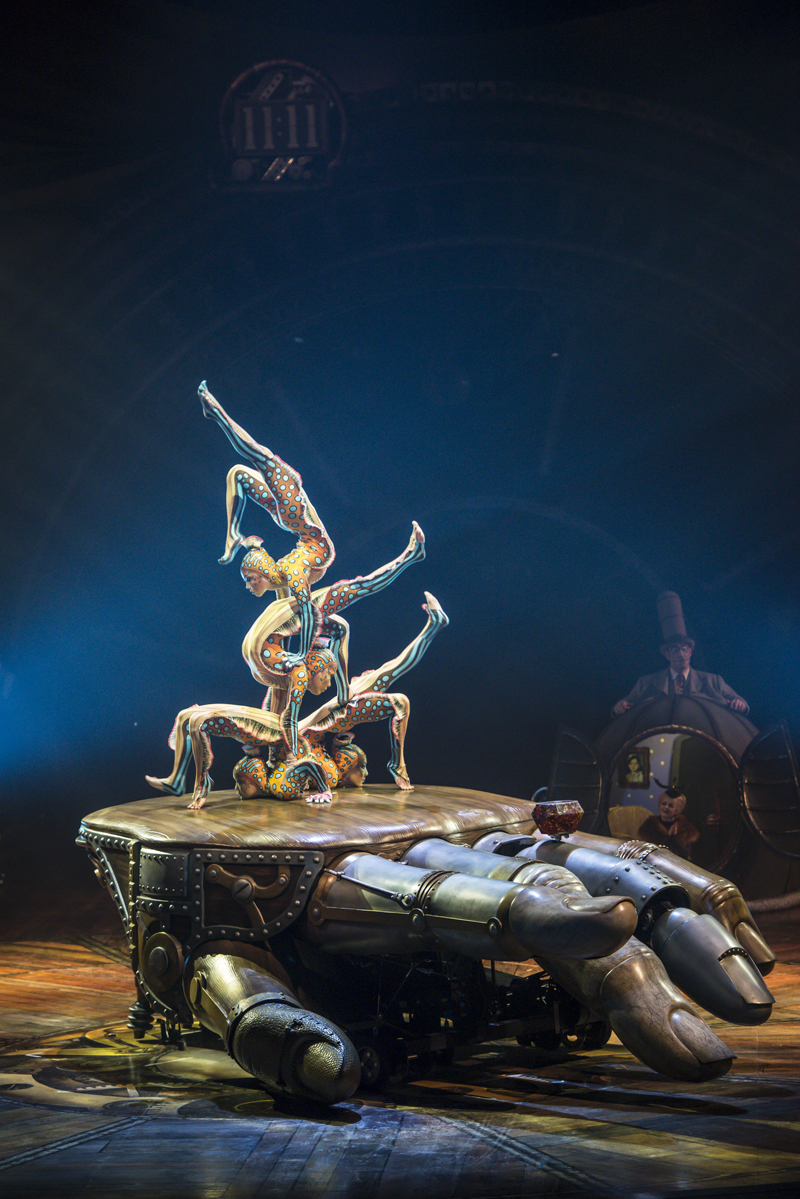 (left) The props and set pieces for Kurios—like this contortionist act—were designed to show off a sense of wonder and inventiveness
