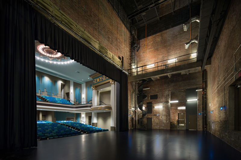 The stage and flyloft of the theatre