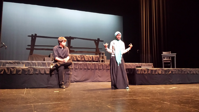 Ed Bartow and Pauline Weah in the Ottumwa High School production of The Laramie Project