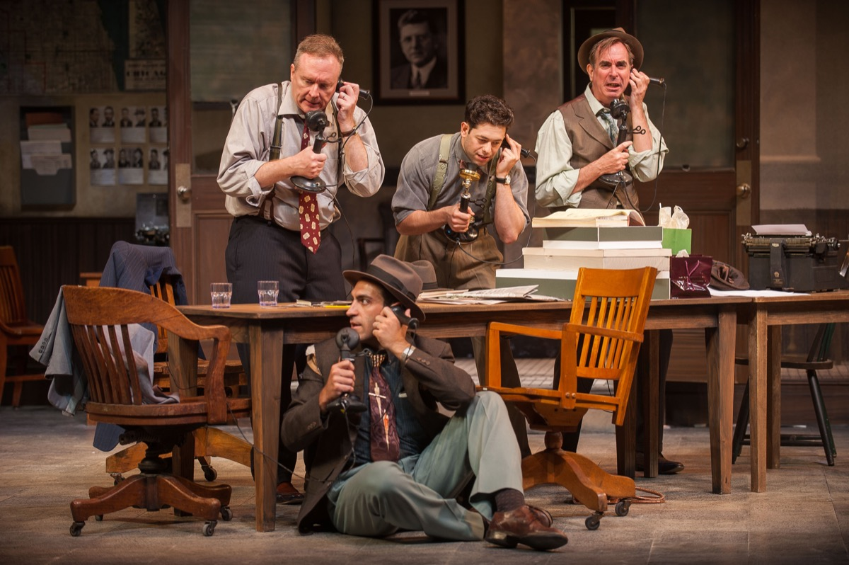 Reporters reach for their phones in Barrington Stage Company's world premiere of His Girl Friday.