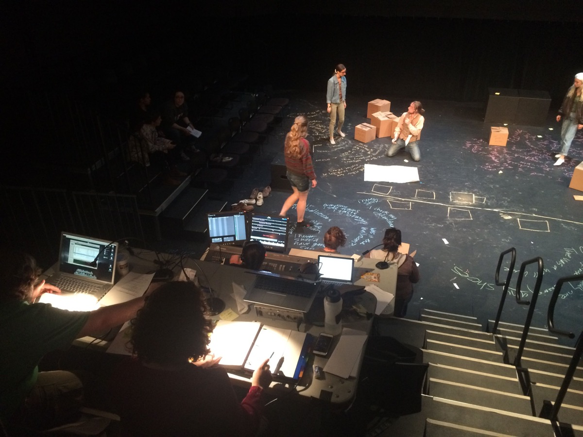 Amy Altadonna designed sound for Fissures (shown here in tech) but this past spring she got onto stage herself.