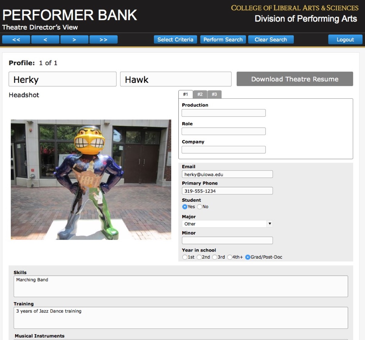 A screenshot from The Performer Bank, a custom database that helps track actors during auditions at the University of Iowa.