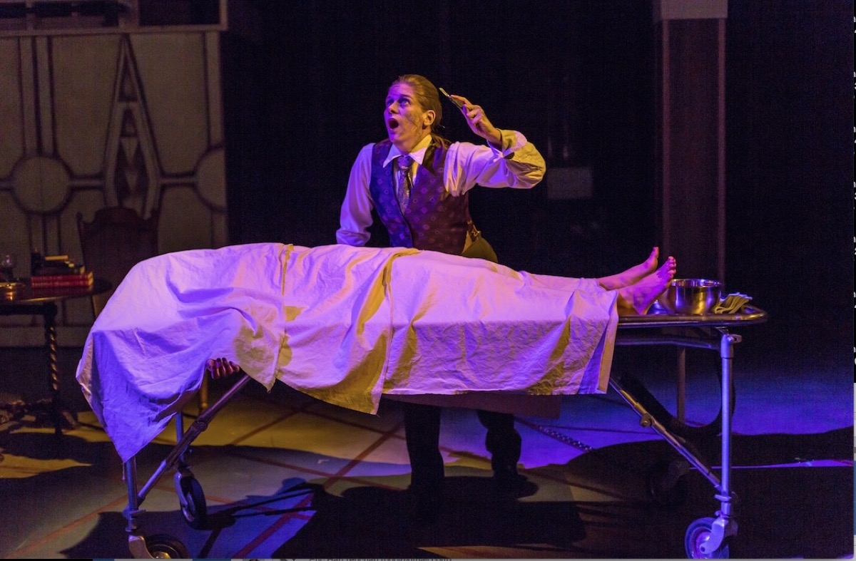All Girl Frankenstein and its stainless steel embalming table at the Hippodrome Theatre, Gainesville, FL.